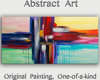 "Original oil Painting Abstract Painting 48"" Canvas  art,  free dynamic Brushwork, Color Rethym, fresh eye-catching focal point,  by Tim Lam"