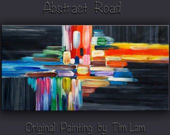 """Huge original modern art Abstract Cross Road Oil Painting Modern Impasto Texture canvas by Tim Lam 48"""" x 24"""""""
