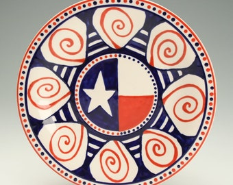 "Red White and Blue Ceramic Plate, USA Pottery Plate, Americana Plate, American Flag Inspired,  8-1/4"" America Plate"