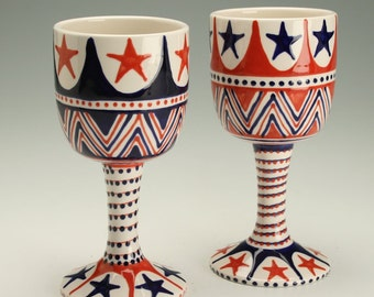 One Goblet Vessel Wine Glass Juice Cup Hand Painted Red White and Blue Stars and Stripes