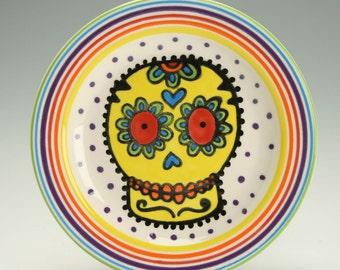 "Day of the Dead Small Plate, Sugar Skull Ceramic Plate, Halloween Decor, 6"" Plate, Decorative Dinnerware"