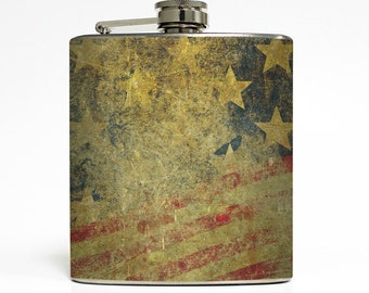 Stars and Stripes Whiskey Flask Vintage Grunge USA Red White Blue United States Groomsmen Gift Stainless Steel 6 oz Liquor Hip Flask LC-1617