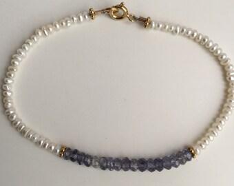 SALE!!! Iolite and Freshwater Seed Pearl Bracelet, Semiprecious Stone and Pearl Bracelet, Handmade Beaded Bracelet