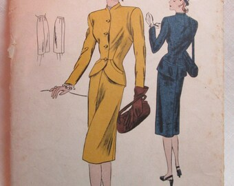 "Antique 1940's Vogue Pattern #S-4718 - size 32"" Bust"
