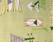 Tiki Mambo Barkcloth - Chris Stone Designer Barkcloth - Lime Citrine Green - NEW, Out-of-Print fabric - Sold By the Yard