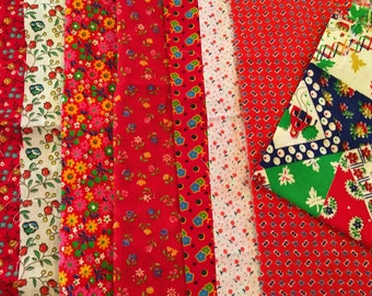 Vintage Fabric Lot of 85 Calico Pieces All Colors