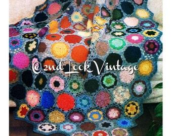 Crochet Pattern Flower Rock Garden Afghan Granny Squares Vintage 1970s Digital Download PDF