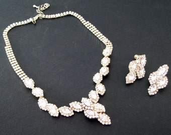 Vintage Silver White Crystal Aurora Borealis Rhinestone Necklace with matching screw back Earrings Jewelry