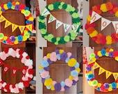 "19"" CUSTOM Made Wreath Custom Color Wreath Felt Rose Wreath Valentines Day Wreath Summer Wreath 4th of July Wreath Spring Summer"