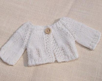 """Waldorf Doll Clothes -Hand knitted White Sweater , fit 9"""" - 10"""" inch dolls"""