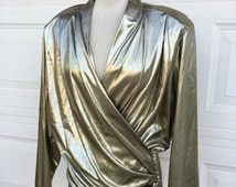 1970s 1980s gold metallic disco party ruched smocked top size L/XL