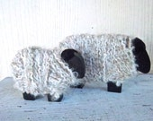 Handmade Fuzzy Wooden Painted Black Sheep Country Room Home and Living Farm Decoration