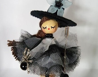 Little Witch doll OOAK black and white