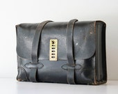 Vintage Black Leather Airforce Pilot Bag Briefcase