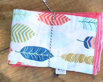 Hand Dyed burp cloth with feather fabric panel