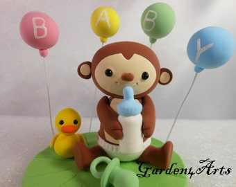 Customise Lovely  Baby Monkey CakeTopper with Grass Base for Kids Birthday or Baby Shower