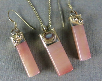 Petrified Wood Sterling Silver Necklace earring set natural stone
