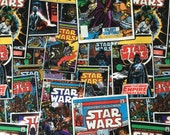 Remnant and Scrap Bundle Star Wars Fabric Vintage Comic Quilters Weight Cotton Fabric