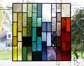 Two Custom Multi-Colored Stain Glass Panels