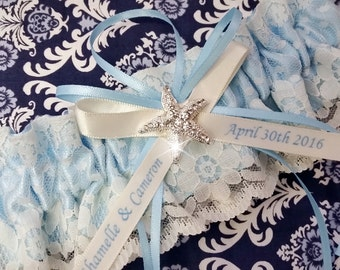 Blue Starfish  Wedding Garter , beautiful personalized blue satin and Ivory Lace with a starfish,  name garter, beach garter