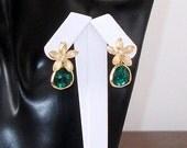 SHOP CLOSING SALE: Ashira Dainty Emerald Green Gemstones With Gold Cz Flower Stud Earring