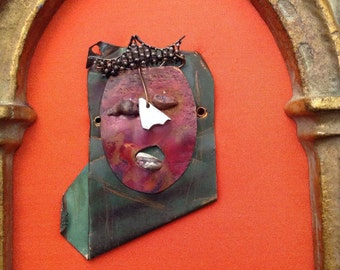 Mixed Metals Handmade Face Mounted in Repurposed Frame One of a Kind