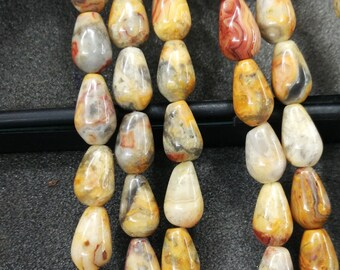 Yellow Crazy Agate Stone Teardrop beads 8x12mm- Central Drilled- 33pcs/strand