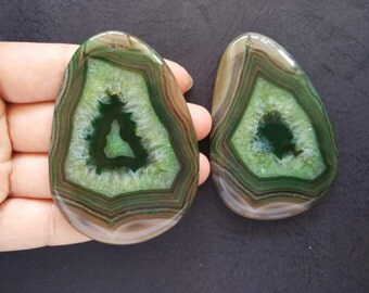 Giant Large Brown Green Druzy Agate Pendant -50x72mm -As Pictured- #160926001