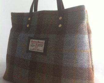 Blue Harris tweed purse, Harris tweed bag, Harris tweed tote, tartan purse, tweed purse, Scottish gift, gift for her, wife gift,