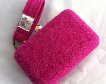 Harris tweed clutch bag, tweed clutch bag, pink wedding purse, pink bridesmaid purse, pink purse, pink clutch