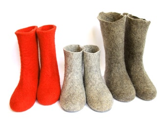 Felted Wool Boots - Valenki Boots - Handmade Booties - Organic Wool - Womens Shoes - Organic Slippers - Rubber Soles - Handcrafted Shoes