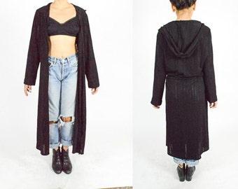 90's BLACK Sheer Stripe Long DUSTER COAT. 90's Grunge Minimalist Mod. Hooded Duster.