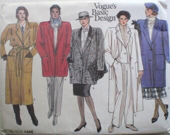 Vogue Basic Design Lined Coat Sewing Pattern - Vogue 1446 - Sizes 14-16-18, Bust 36 - 40, Uncut