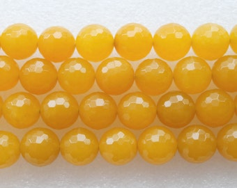 16 Inch Strand Beautiful Yellow Jade Faceted Round Beads 16mm