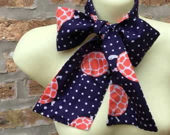 TURTLE scarf - navy BLUE - ORANGE and white - long tie scarf