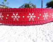 """Sale Christmas Small Dog Collar Snowflakes 3/4"""" wide adjustable side release buckle / no martingale limited ribbon"""