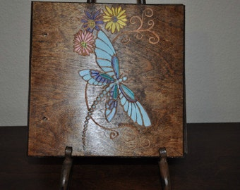 Hand Carved Wood Blue Dragonfly Scrapbook Photo Album Writing Journal