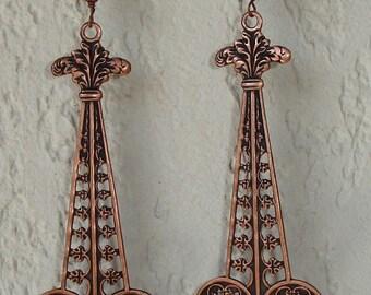 Earrings - Boucles d'oreilles Art Déco et perles turquoise d'Afrique