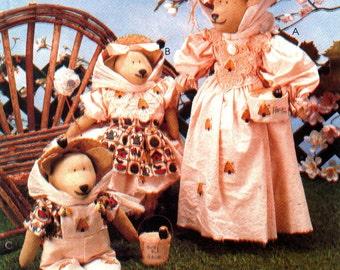 "Beekeeper Bears Pattern, Bear Family, Folk Art, Rosenbear Designs Gloria Rosenbaum - McCalls 772 UNCUT Size 14"" and 19"""