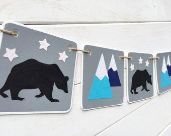 BEAR MOUNTAIN BANNER, nursery banner, baby shower banner, baby boy banner, birthday banner, woodland, bear banner, mountain decor, rustic