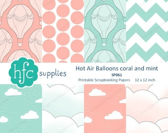 Hot Air Balloon Digital Papers, Coral and Mint colours - clouds & balloons printables for scrapbooks and cards - Instant Download SP061