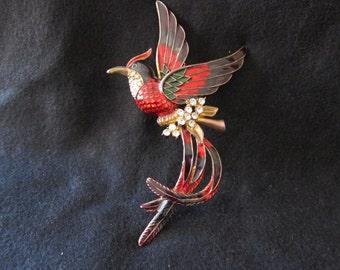 Glitzy Enamel Bird Brooche