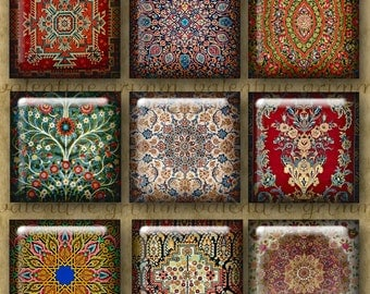 ORIENTAL CARPET 1 inch Squares - Digital Printable collage sheet for Jewelry Pendants Magnets Crafts...Antique Oriental Rug Patterns