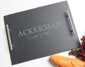 Personalized Slate Cheese Board, Custom Engraved Slate Serving Tray, Cheese Board, Personalized Slate, Personalized Wedding, Housewarming D8