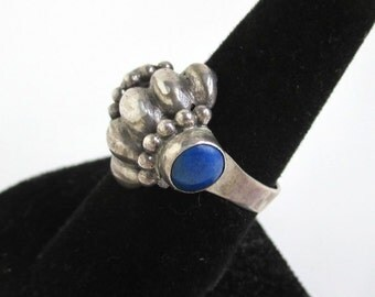 Sterling Silver & Blue Stone Ring - Vintage Unusual Shape, Size 8