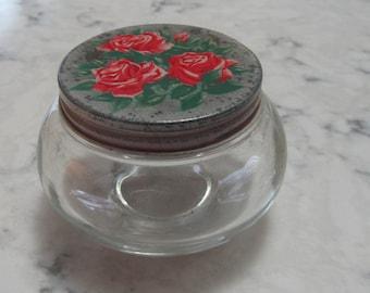 Antique Vintage Art deco 1930's Glass Dresser Jar with Red Roses