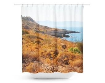 Coastal Home Decor - Ocean Shower Curtain - Blue Orange Art - Mediterranean Sea - Seascape Photograph - Crete Bathroom Decor - Nautical Art