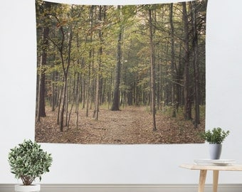 Tapestry Wall Hanging In the Woods 1 Modern Photography Unique home decor forest green trees brown branches mother nature earth tones