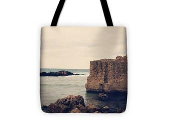 Art Tote beach Bag Mediterranean 1 photography Fashion photograph grey gray storm clouds photo Navy blue Nautical Ocean Beach Bag sea tan