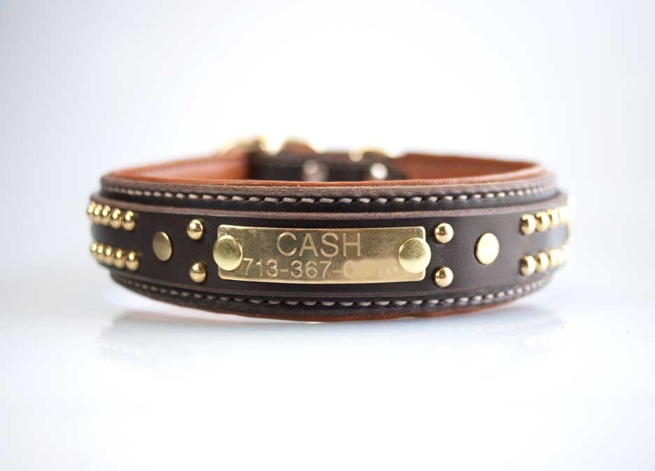Personalized Dog Collar with Name Plate Custom ID Dog